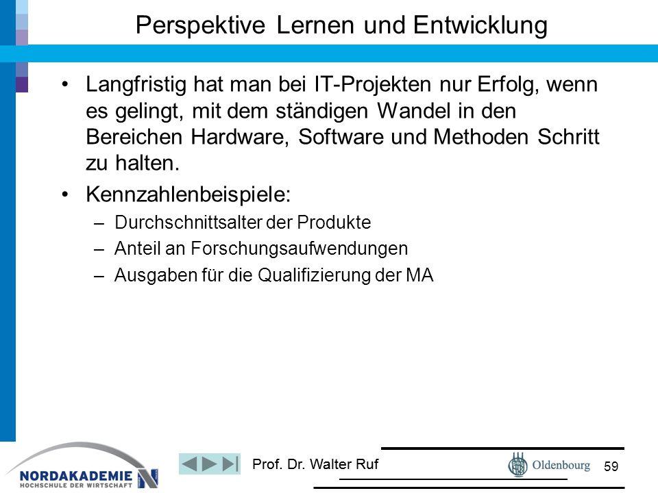 Prof. Dr. Walter Ruf Langfristig hat man bei IT-Projekten nur Erfolg, wenn es gelingt, mit dem ständigen Wandel in den Bereichen Hardware, Software un