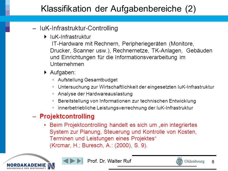 Prof. Dr. Walter Ruf Klassifikation der Aufgabenbereiche (2) –IuK-Infrastruktur-Controlling  IuK-Infrastruktur IT-Hardware mit Rechnern, Peripheriege