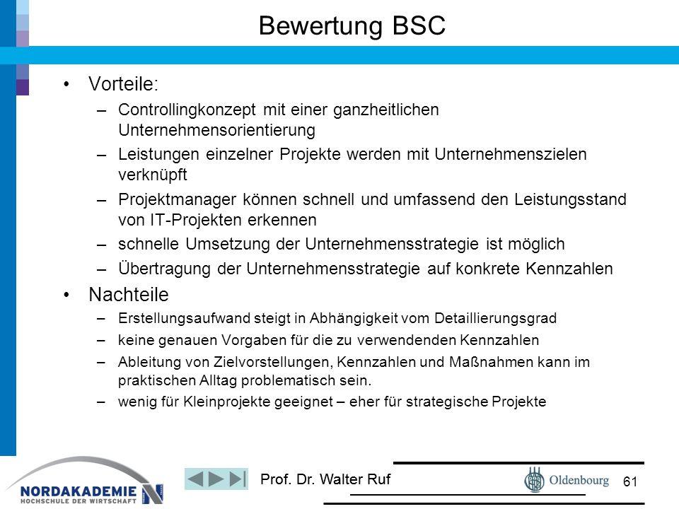 Prof. Dr. Walter Ruf Vorteile: –Controllingkonzept mit einer ganzheitlichen Unternehmensorientierung –Leistungen einzelner Projekte werden mit Unterne
