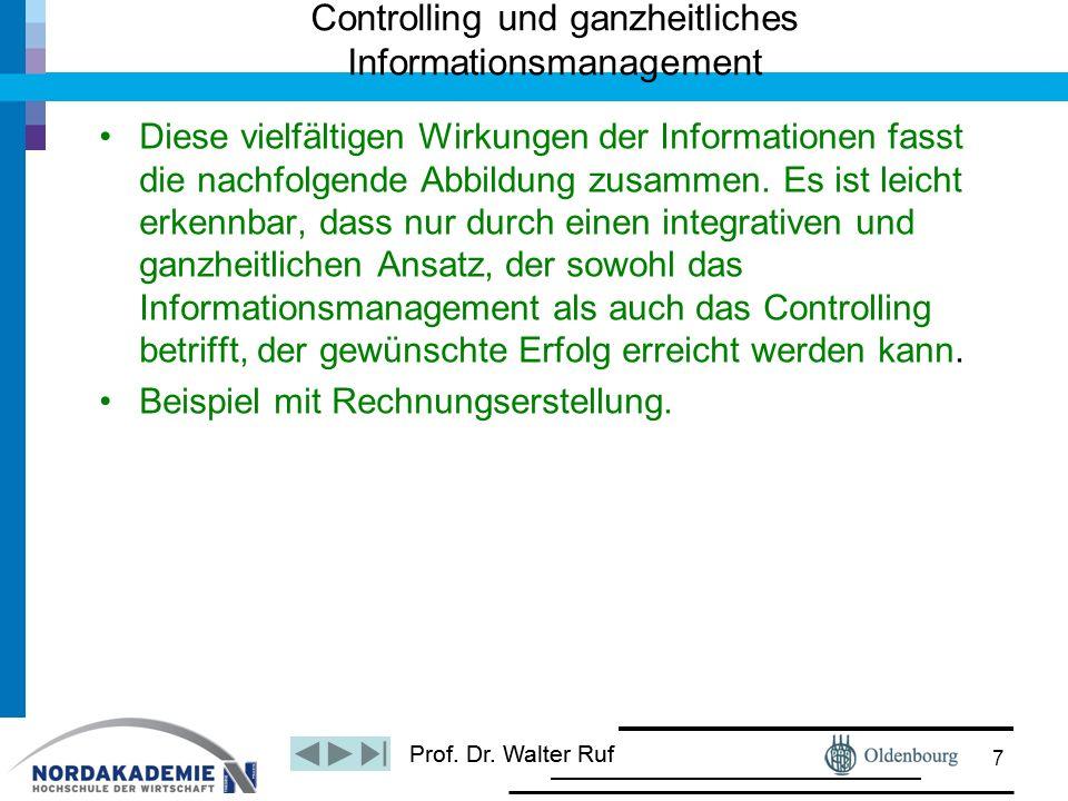Prof. Dr. Walter Ruf Diese vielfältigen Wirkungen der Informationen fasst die nachfolgende Abbildung zusammen. Es ist leicht erkennbar, dass nur durch