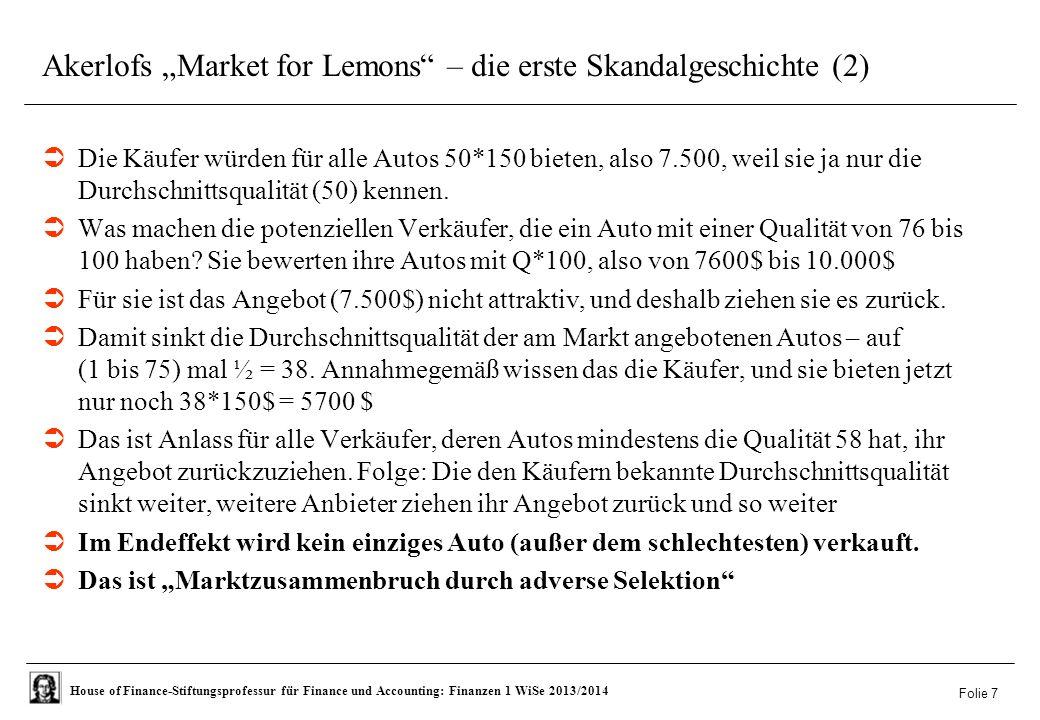 """House of Finance-Stiftungsprofessur für Finance und Accounting: Finanzen 1 WiSe 2013/2014 Akerlofs """"Market for Lemons – die erste Skandalgeschichte (2)  Die Käufer würden für alle Autos 50*150 bieten, also 7.500, weil sie ja nur die Durchschnittsqualität (50) kennen."""