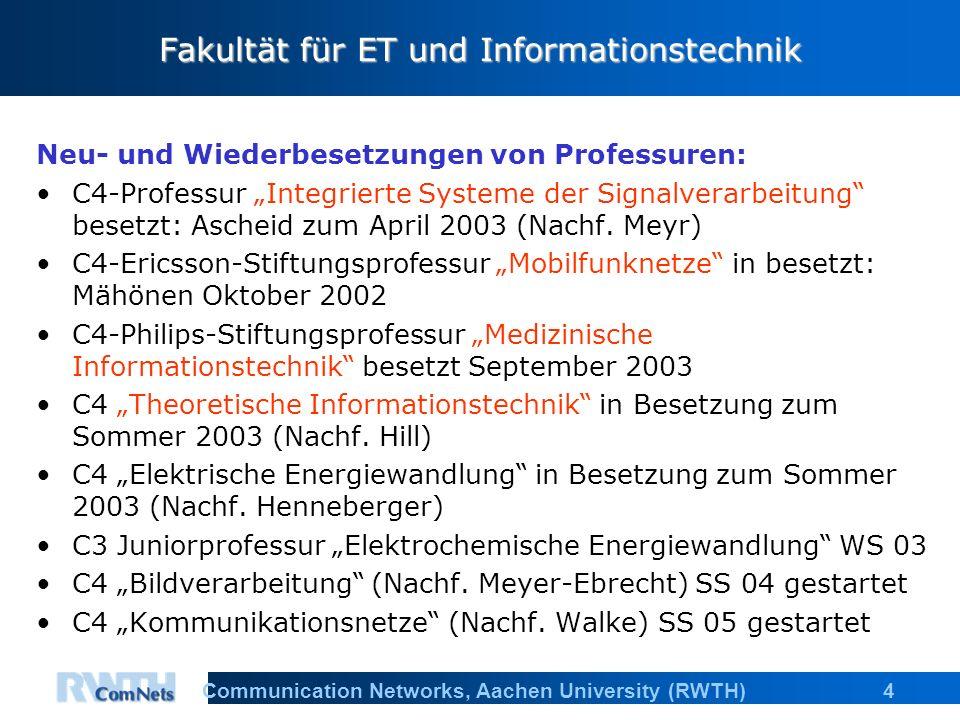 """4Communication Networks, Aachen University (RWTH) Fakultät für ET und Informationstechnik Neu- und Wiederbesetzungen von Professuren: C4-Professur """"Integrierte Systeme der Signalverarbeitung besetzt: Ascheid zum April 2003 (Nachf."""