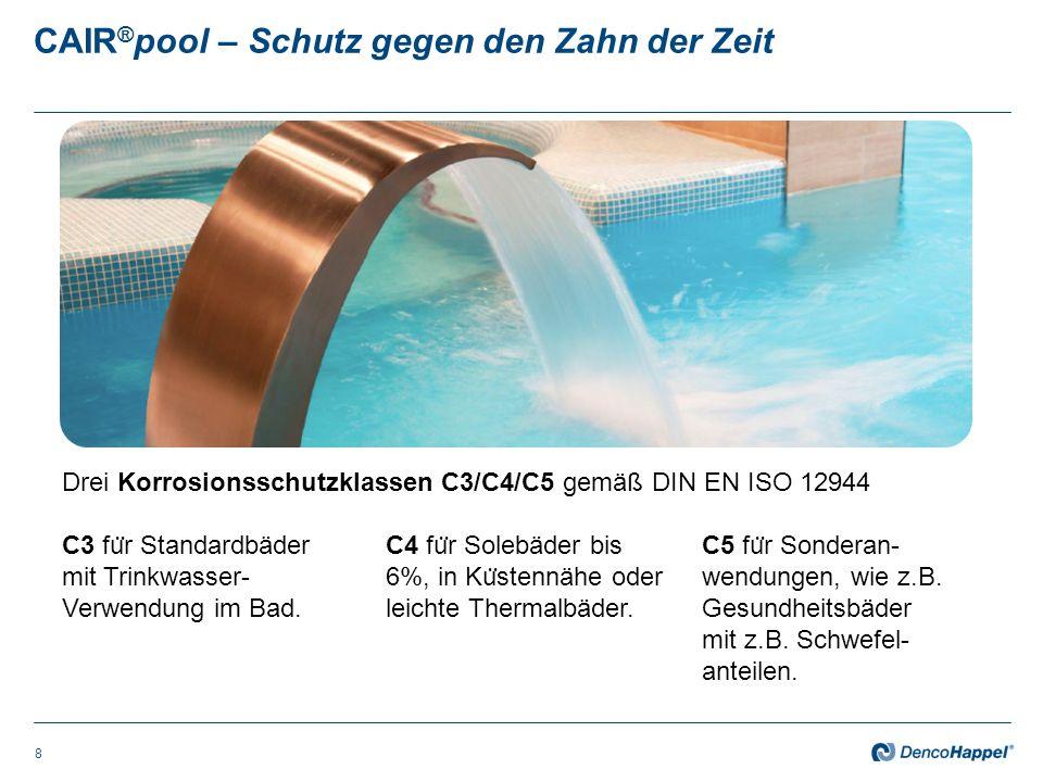 CAIR ® pool – 24h Frischluftentfeuchtung zum Erhalt der Substanz 9 Problem: In Ruhephasen konzentrieren sich Schadstoffe wie Trihalogenmethane, Chloramine und Desinfektionsprodukte.