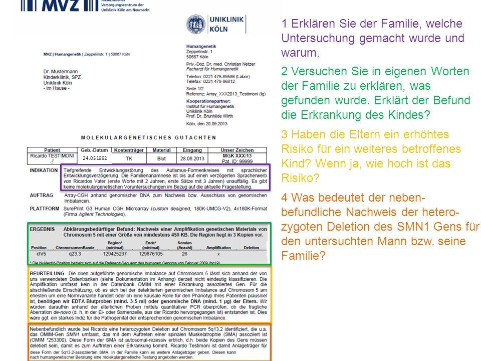1 Erklären Sie der Familie, welche Untersuchung gemacht wurde und warum. 3 Haben die Eltern ein erhöhtes Risiko für ein weiteres betroffenes Kind? Wen