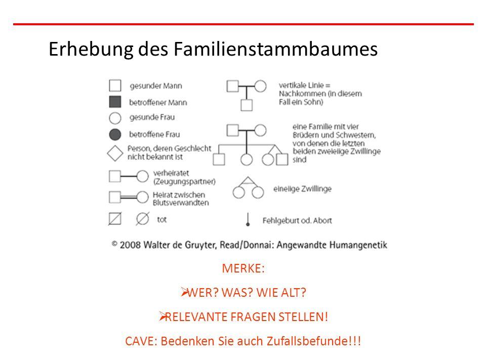 Erhebung des Familienstammbaumes MERKE:  WER? WAS? WIE ALT?  RELEVANTE FRAGEN STELLEN! CAVE: Bedenken Sie auch Zufallsbefunde!!!