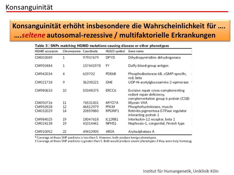 Institut für Humangenetik, Uniklinik Köln Konsanguinität Wie viele rezessive Anlagen tragen wir im Durchschnitt? Konsanguinität erhöht insbesondere di