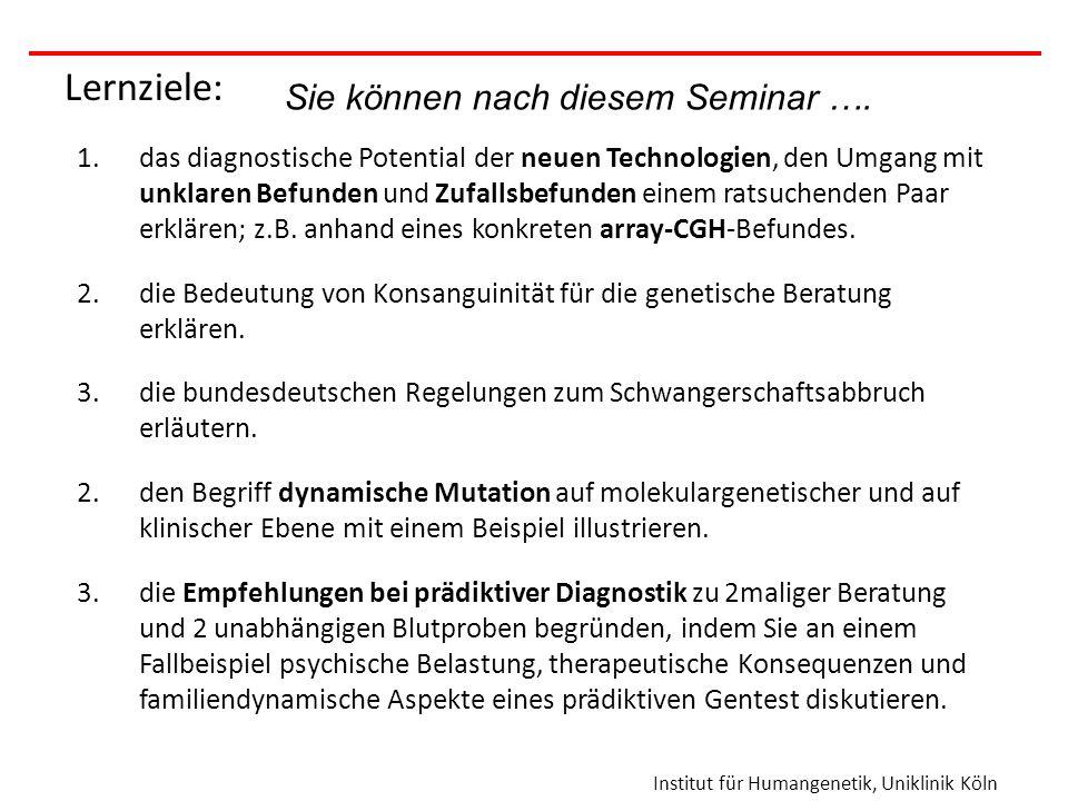 Institut für Humangenetik, Uniklinik Köln Genetischer Test geplant, insbesondere Pränataldiagnostik bzw.