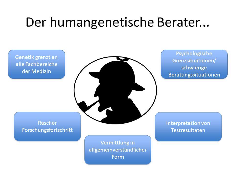Der humangenetische Berater... Genetik grenzt an alle Fachbereiche der Medizin Rascher Forschungsfortschritt Interpretation von Testresultaten Psychol