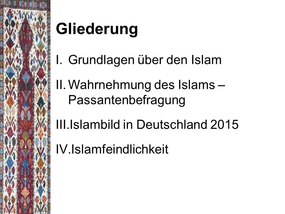  Islambild wird durch Kernwerte geprägt  Kernwerte werden durch soziale Kontakte (primären und sekundären Bezugsgruppen) vermittelt Politische Einstellung:  Wertschätzung der Demokratie  Islam häufiger als Bereicherung  negatives Islambild ist ein Phänomen in der Mitte unserer Gesellschaft  keine Partei ist vor islamfeindlichen Anschauungen und einem negativen Islambild gefeit  politische Ideale und Ideologien der Mitte und der rechten Szene beeinflussen das Islambild der Bevölkerung nicht maßgeblich  Muslime in Deutschland und Europa erleben verschiedene Formen der Diskriminierung in der Öffentlichkeit und in staatlichen Institutionen Einflussfaktor Kernwerte