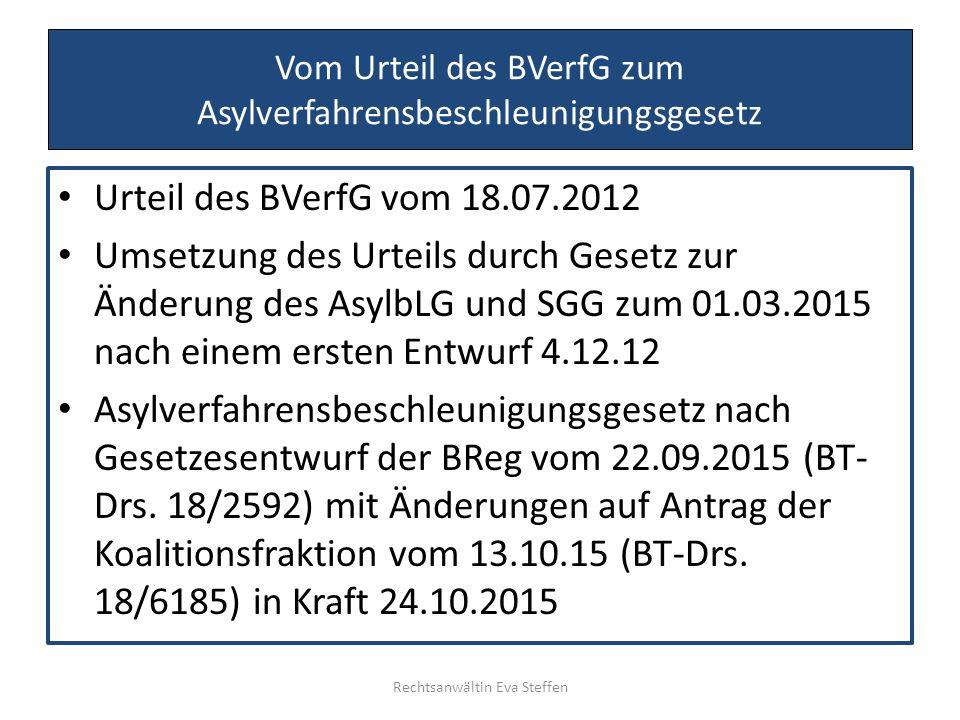 Vom Urteil des BVerfG zum Asylverfahrensbeschleunigungsgesetz Urteil des BVerfG vom 18.07.2012 Umsetzung des Urteils durch Gesetz zur Änderung des Asy