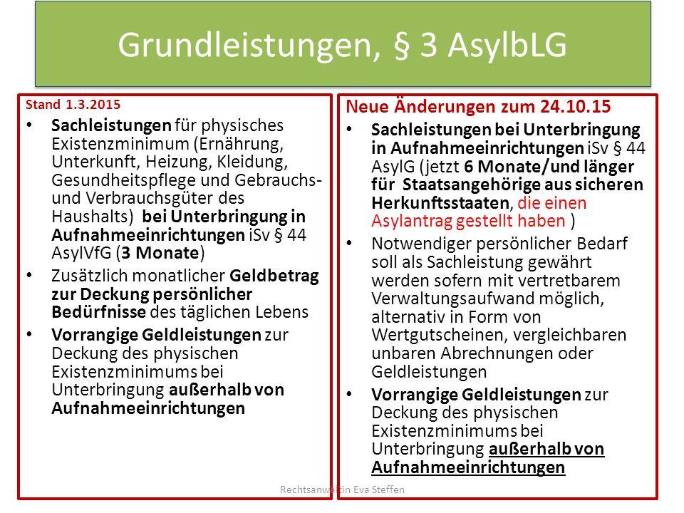 Grundleistungen, § 3 AsylbLG Stand 1.3.2015 Sachleistungen für physisches Existenzminimum (Ernährung, Unterkunft, Heizung, Kleidung, Gesundheitspflege