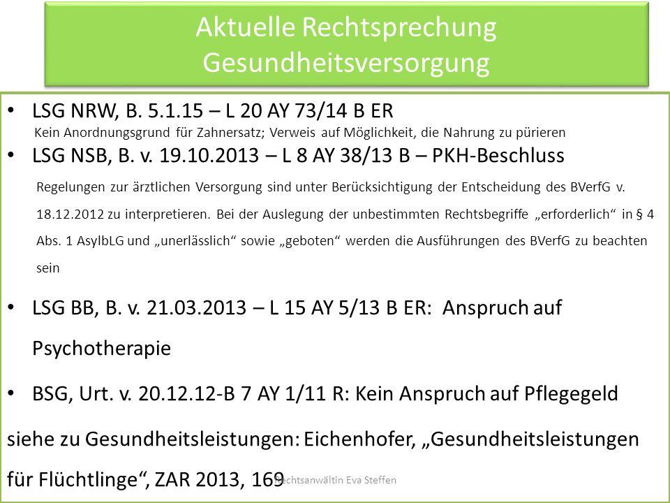 Aktuelle Rechtsprechung Gesundheitsversorgung LSG NRW, B. 5.1.15 – L 20 AY 73/14 B ER Kein Anordnungsgrund für Zahnersatz; Verweis auf Möglichkeit, di