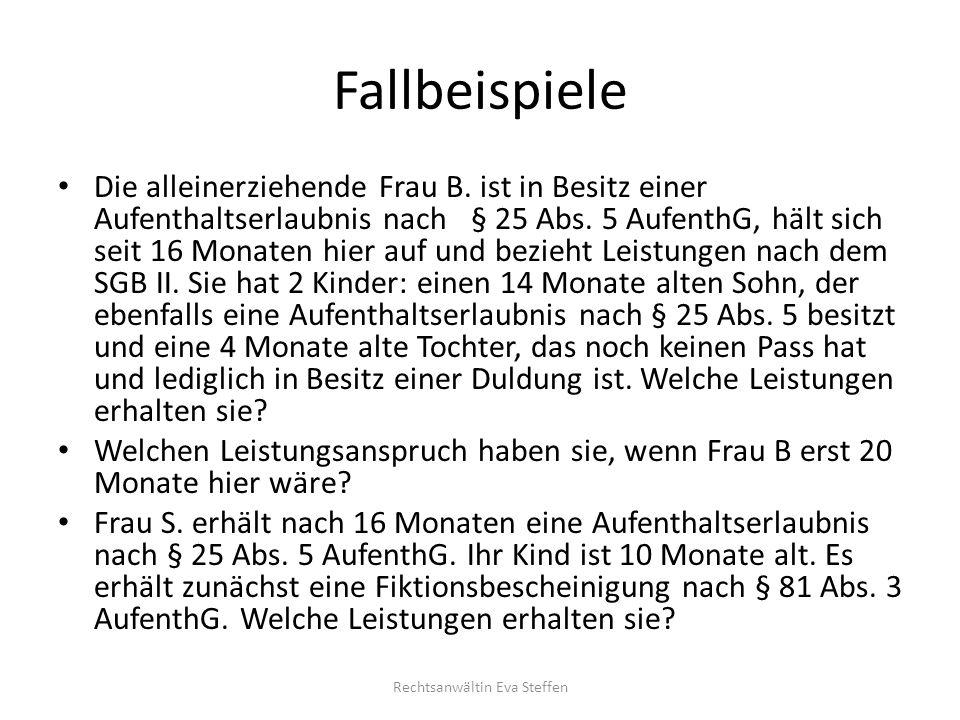 Grundleistungsbeträge § 3 AsylbLG bis 2014/ab März 2015 Rechtsanwältin Eva Steffen Monatliche Leistungen bis Dez.