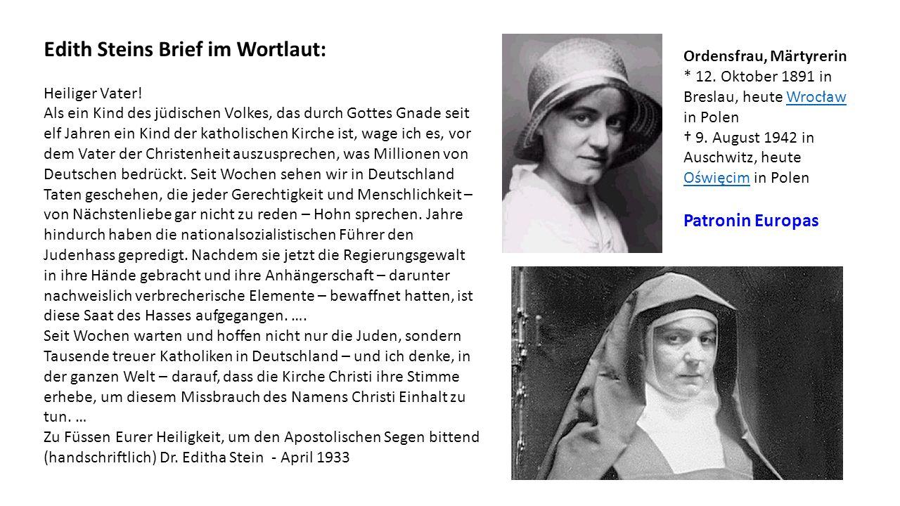 Edith Steins Brief im Wortlaut: Heiliger Vater.