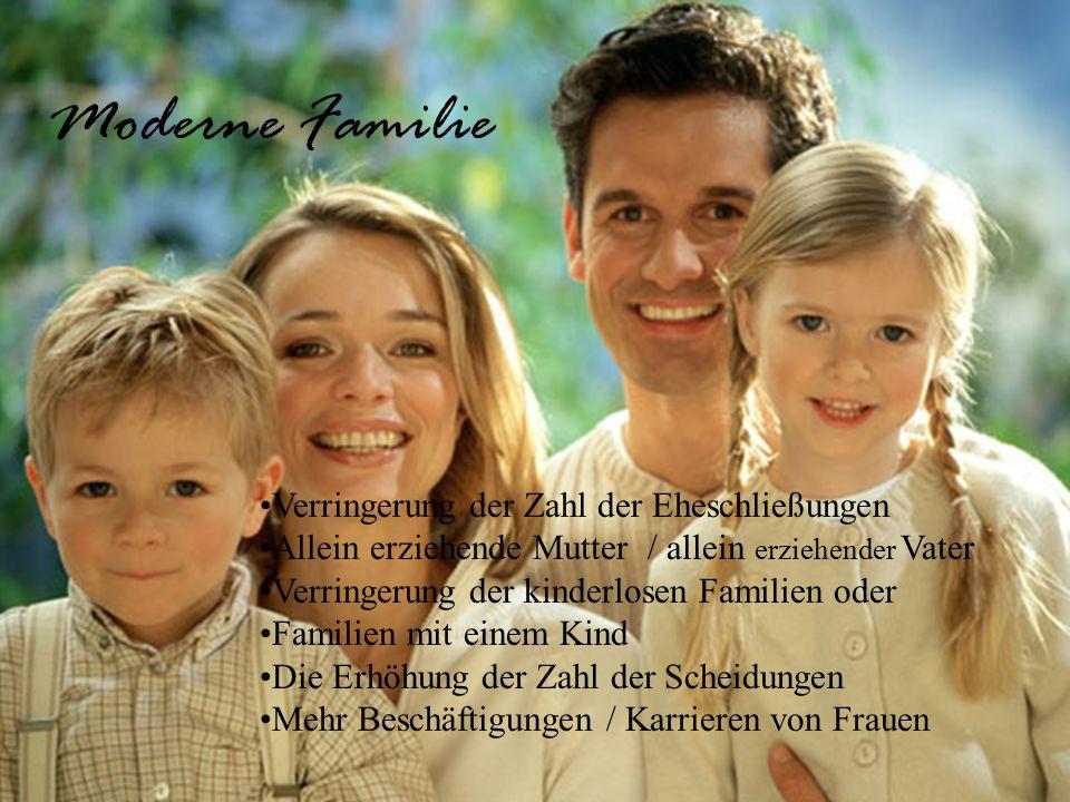 Verringerung der Zahl der Eheschließungen Allein erziehende Mutter / allein erziehender Vater Verringerung der kinderlosen Familien oder Familien mit