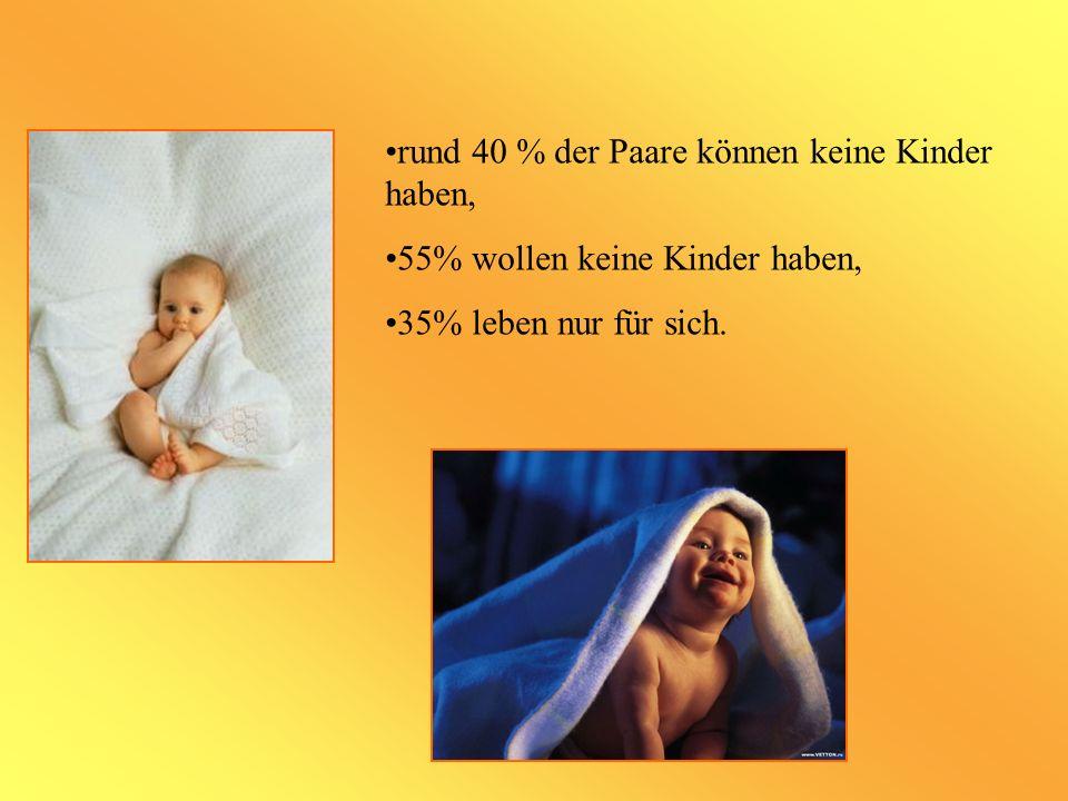 rund 40 % der Paare können keine Kinder haben, 55% wollen keine Kinder haben, 35% leben nur für sich.