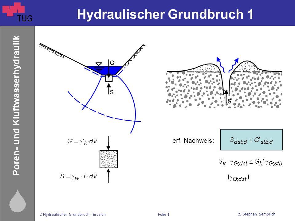 © Stephan Semprich 2 Hydraulischer Grundbruch, ErosionFolie 1 Poren- und Kluftwasserhydraulik Hydraulischer Grundbruch 1 erf. Nachweis: