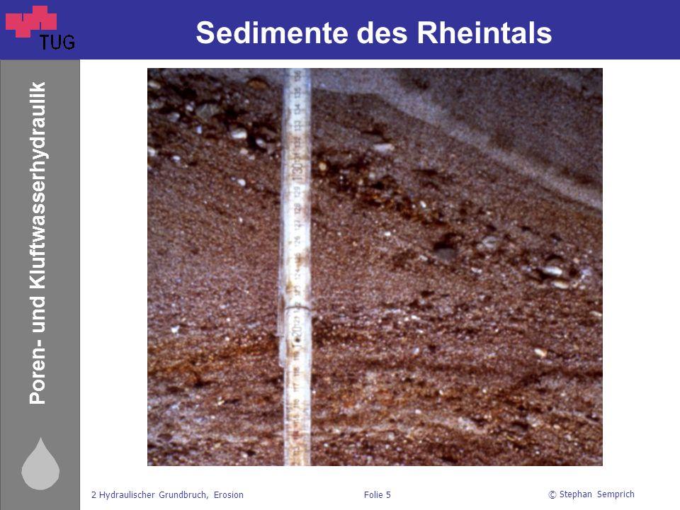 © Stephan Semprich 2 Hydraulischer Grundbruch, ErosionFolie 5 Poren- und Kluftwasserhydraulik Sedimente des Rheintals