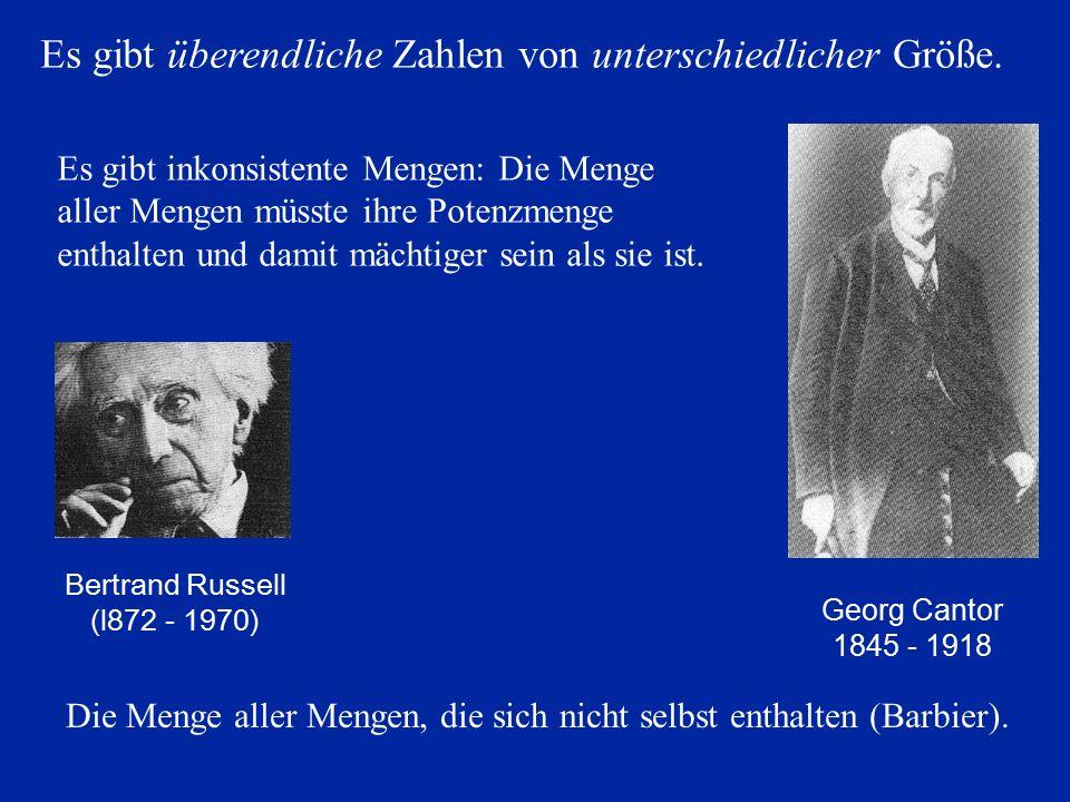 Georg Cantor 1845 - 1918 Es gibt inkonsistente Mengen: Die Menge aller Mengen müsste ihre Potenzmenge enthalten und damit mächtiger sein als sie ist.