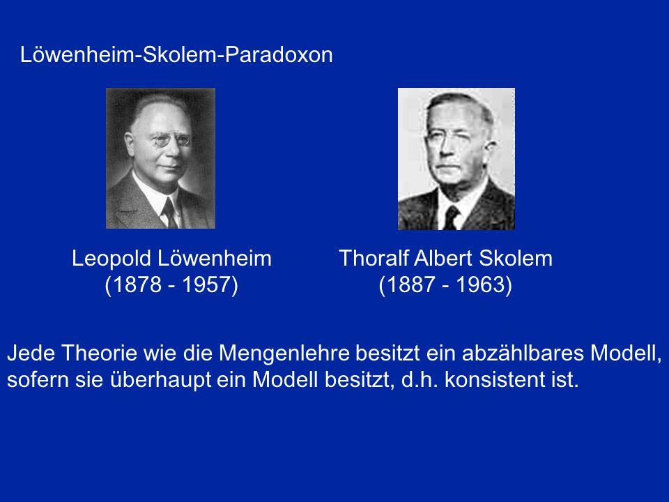 Jede Theorie wie die Mengenlehre besitzt ein abzählbares Modell, sofern sie überhaupt ein Modell besitzt, d.h. konsistent ist. Leopold Löwenheim (1878