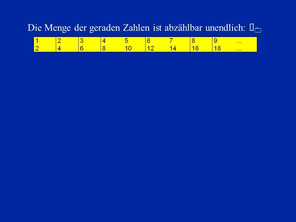 Die Menge der geraden Zahlen ist abzählbar unendlich: À 0