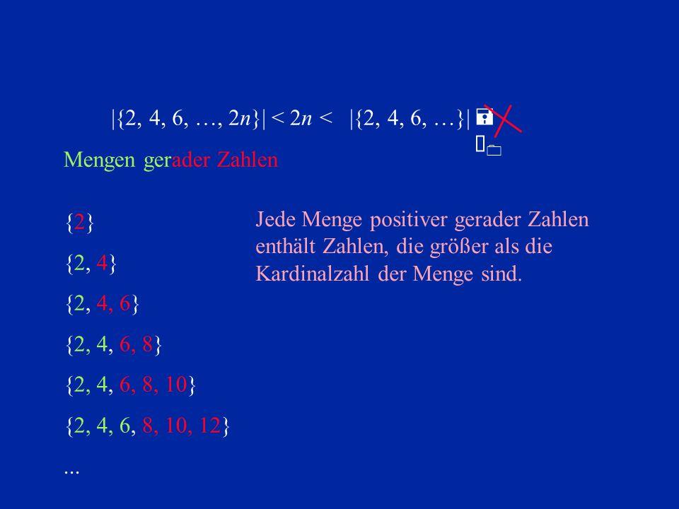 {2}{2} {2, 4} {2, 4, 6} {2, 4, 6, 8} {2, 4, 6, 8, 10} {2, 4, 6, 8, 10, 12}... Mengen gerader Zahlen =À0=À0  {2, 4, 6, …, 2n} <  {2, 4, 6, …} < 2n Jede
