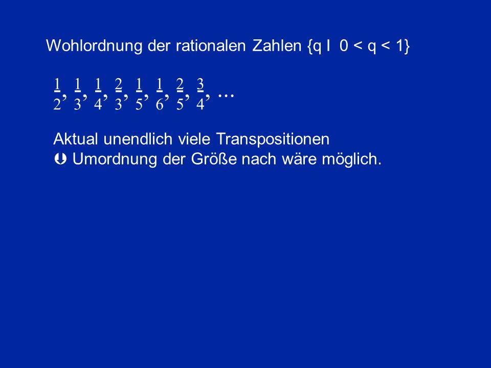 -, -, -, -, -, -, -, -,... 2 3 4 3 5 6 5 4 1 1 1 2 1 1 2 3 Wohlordnung der rationalen Zahlen {q I 0 < q < 1} Aktual unendlich viele Transpositionen 