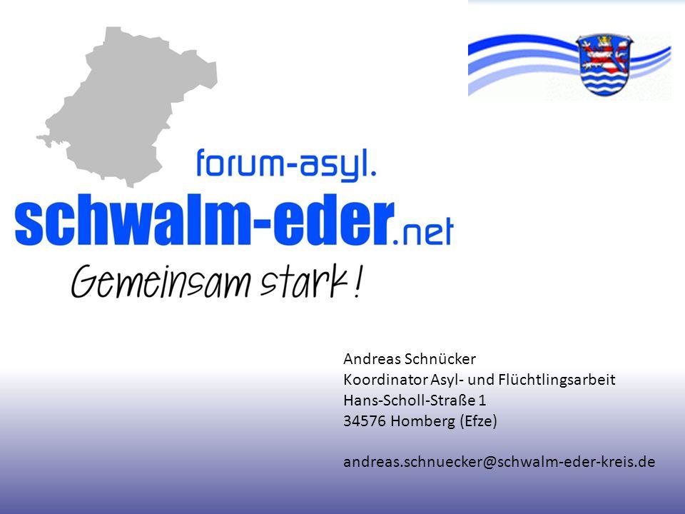 Andreas Schnücker Koordinator Asyl- und Flüchtlingsarbeit Hans-Scholl-Straße 1 34576 Homberg (Efze) andreas.schnuecker@schwalm-eder-kreis.de
