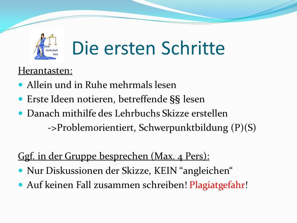 Ausarbeiten im Seminar Problem/Schwerpunktsetzung.