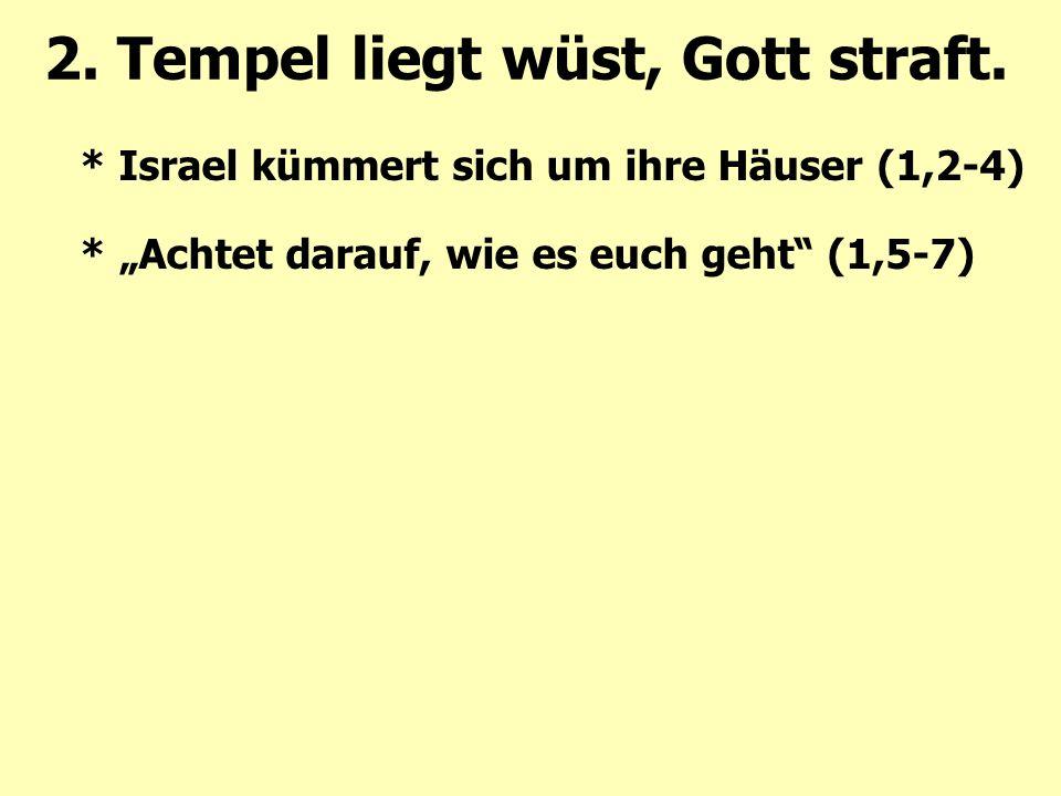 """2. Tempel liegt wüst, Gott straft. * Israel kümmert sich um ihre Häuser (1,2-4) * """"Achtet darauf, wie es euch geht"""" (1,5-7)"""