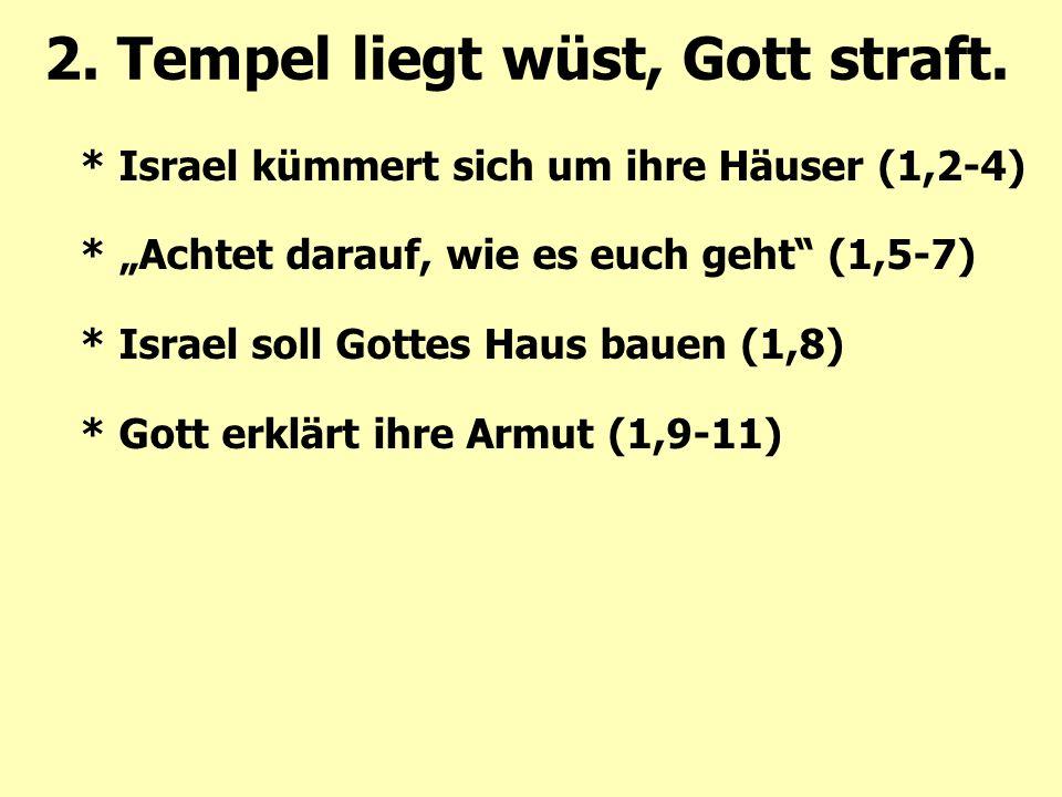 """2. Tempel liegt wüst, Gott straft. * Israel kümmert sich um ihre Häuser (1,2-4) * """"Achtet darauf, wie es euch geht"""" (1,5-7) * Israel soll Gottes Haus"""