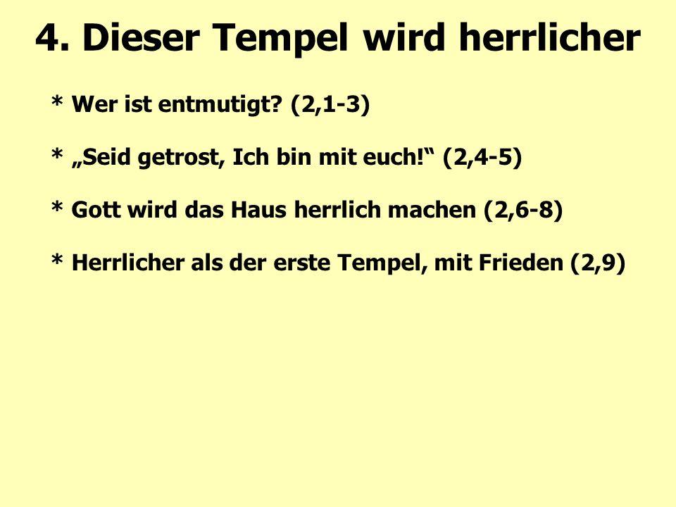 """* Wer ist entmutigt? (2,1-3) * """"Seid getrost, Ich bin mit euch!"""" (2,4-5) * Gott wird das Haus herrlich machen (2,6-8) * Herrlicher als der erste Tempe"""