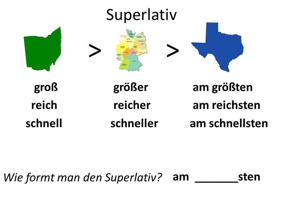 Superlativ >> groß größer am größten reich reicher am reichsten schnell schneller am schnellsten Wie formt man den Superlativ.