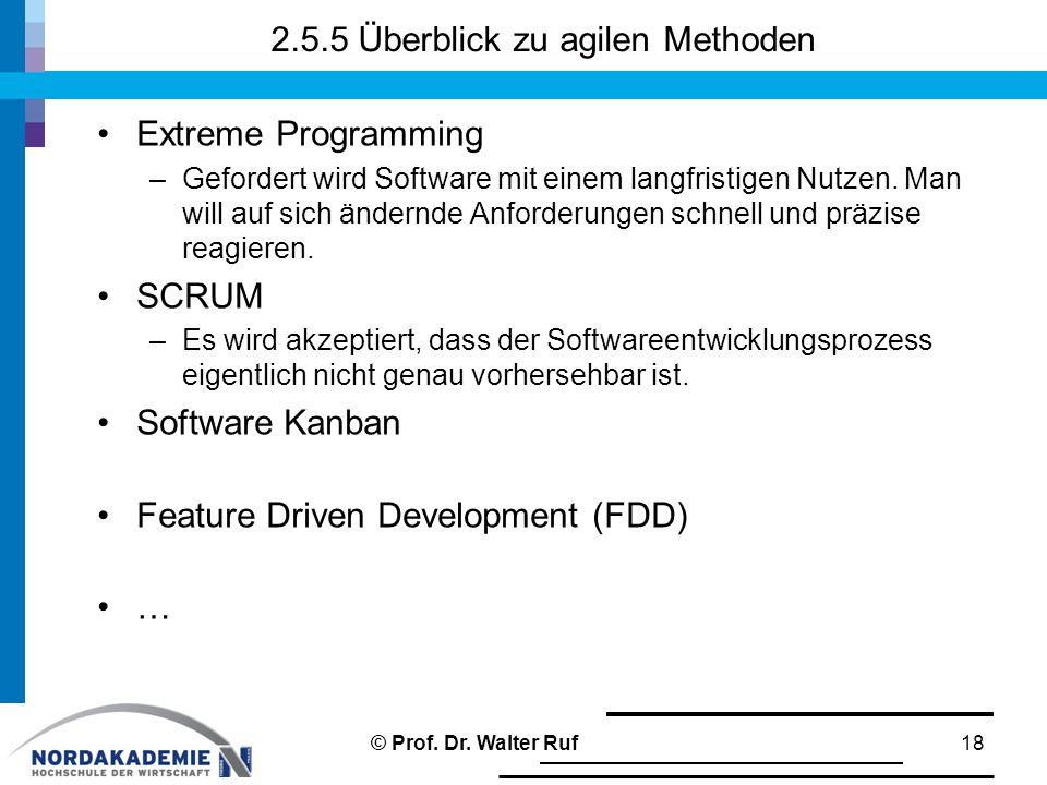 2.5.5 Überblick zu agilen Methoden Extreme Programming –Gefordert wird Software mit einem langfristigen Nutzen.