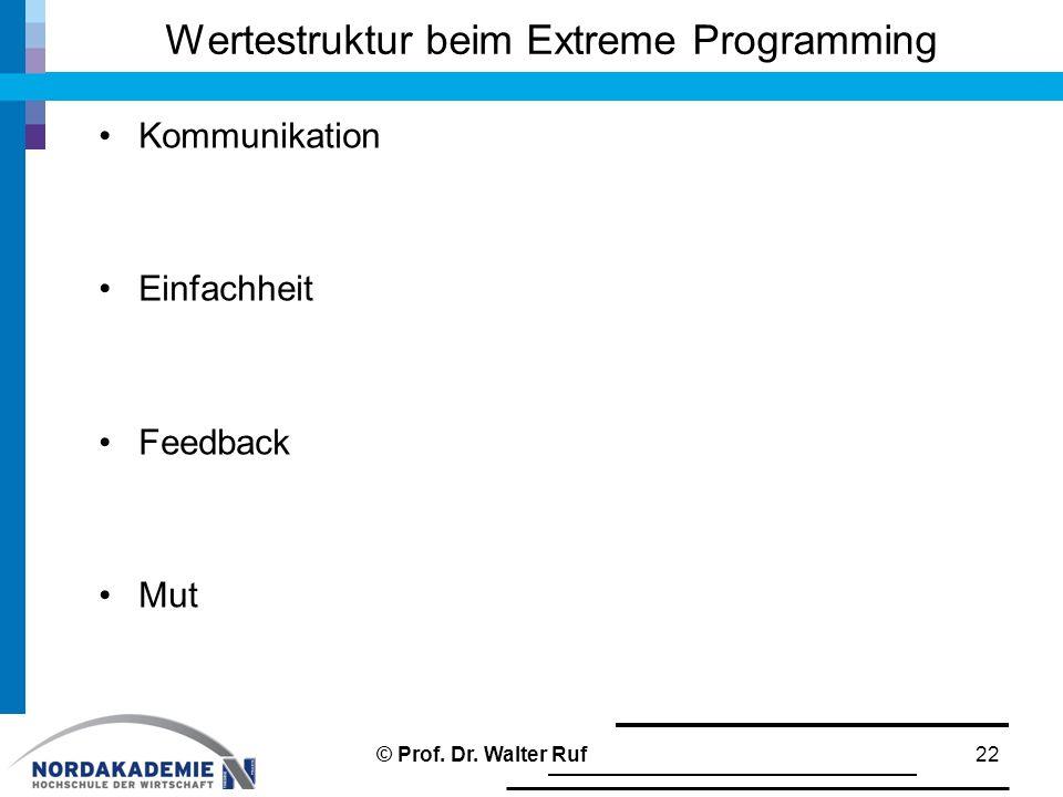 Wertestruktur beim Extreme Programming Kommunikation Einfachheit Feedback Mut 22© Prof.
