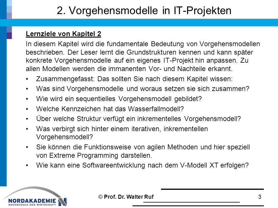 2. Vorgehensmodelle in IT-Projekten Lernziele von Kapitel 2 In diesem Kapitel wird die fundamentale Bedeutung von Vorgehensmodellen beschrieben. Der L