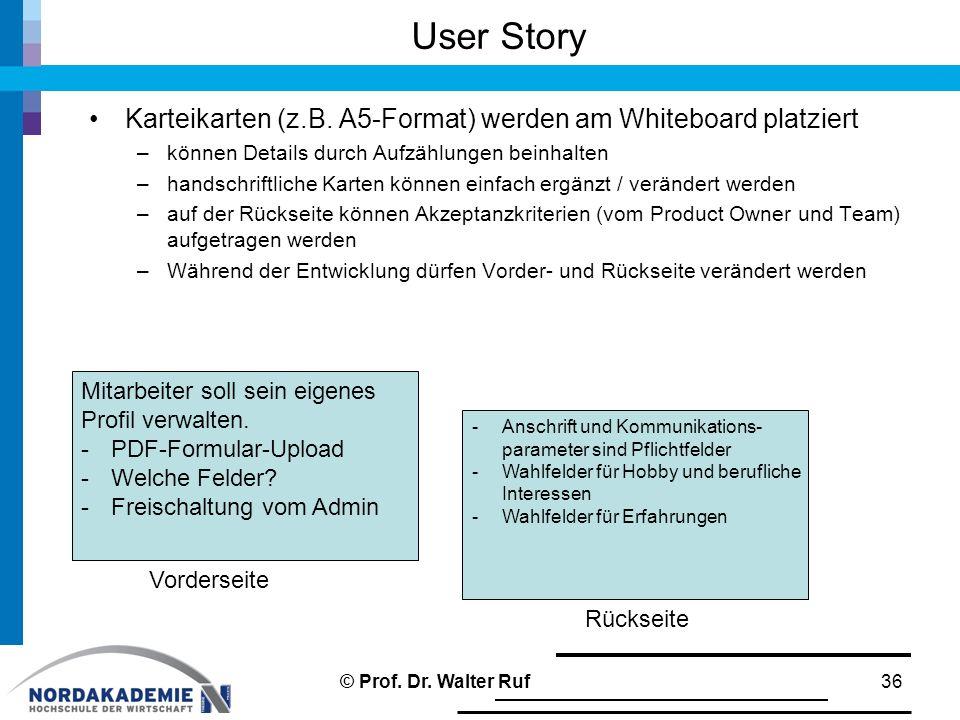 User Story Karteikarten (z.B.