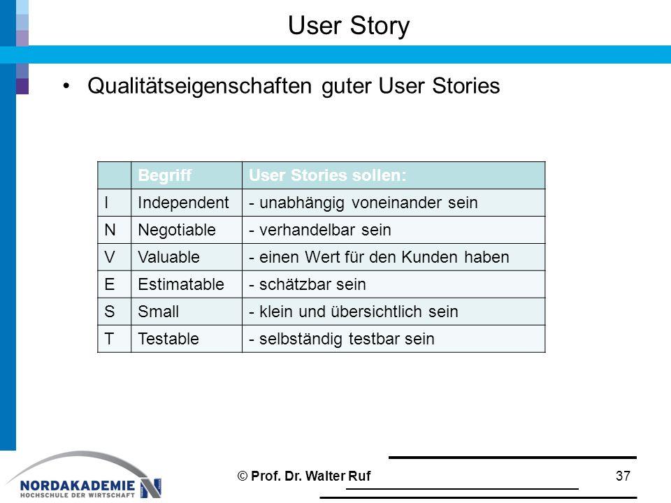 User Story Qualitätseigenschaften guter User Stories 37 BegriffUser Stories sollen: IIndependent- unabhängig voneinander sein NNegotiable- verhandelbar sein VValuable- einen Wert für den Kunden haben EEstimatable- schätzbar sein SSmall- klein und übersichtlich sein TTestable- selbständig testbar sein © Prof.