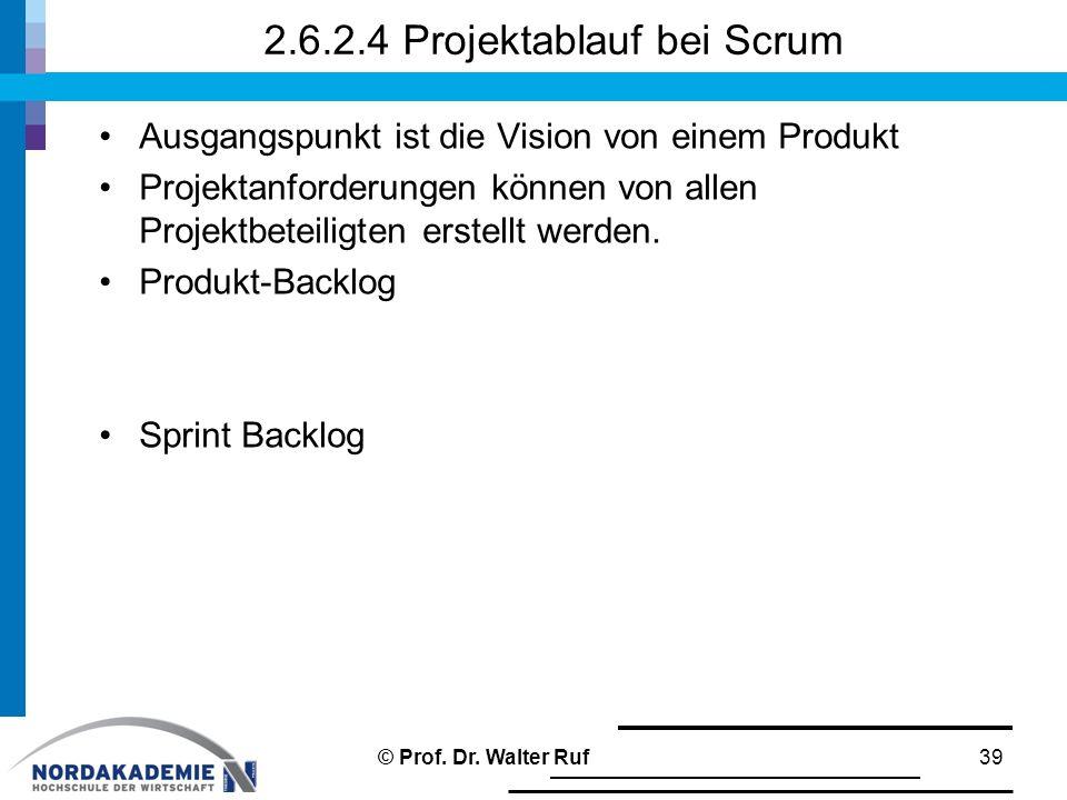 2.6.2.4 Projektablauf bei Scrum Ausgangspunkt ist die Vision von einem Produkt Projektanforderungen können von allen Projektbeteiligten erstellt werden.