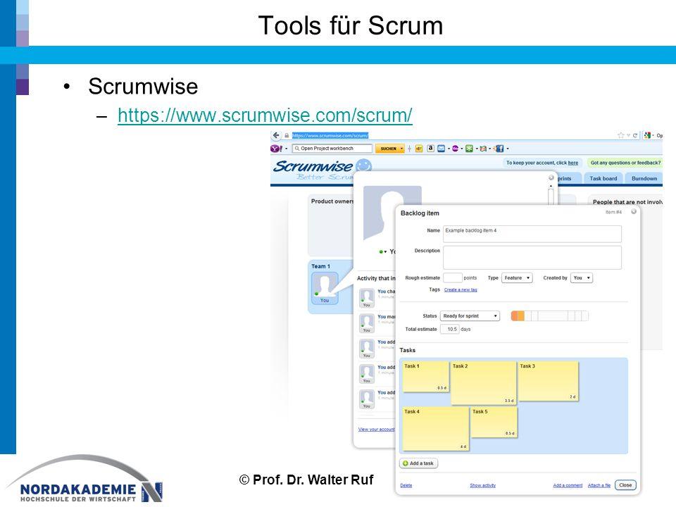 Tools für Scrum Scrumwise –https://www.scrumwise.com/scrum/https://www.scrumwise.com/scrum/ 46© Prof.