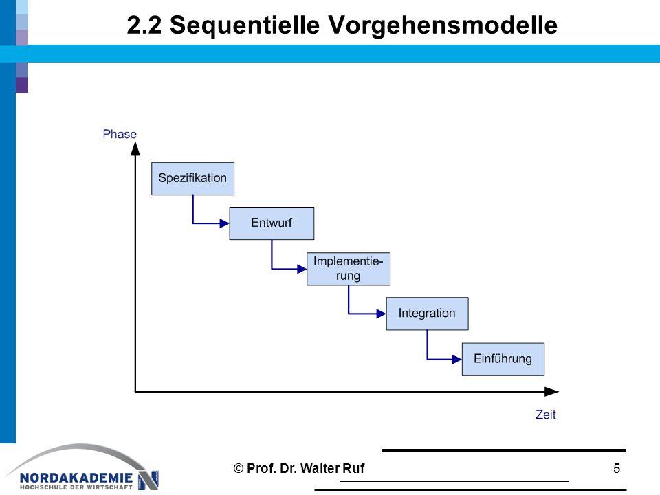 2.2 Sequentielle Vorgehensmodelle 5© Prof. Dr. Walter Ruf