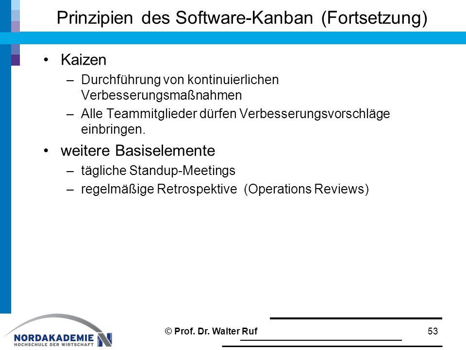 Prinzipien des Software-Kanban (Fortsetzung) Kaizen –Durchführung von kontinuierlichen Verbesserungsmaßnahmen –Alle Teammitglieder dürfen Verbesserungsvorschläge einbringen.