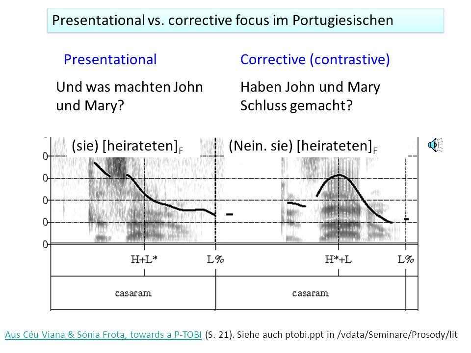 3. Enger Fokus und die Bedeutung 'Presentational (informational) focus' 'Corrective (contrastive) focus' A. Was ist die Hauptstadt von Norwegen? B. Di