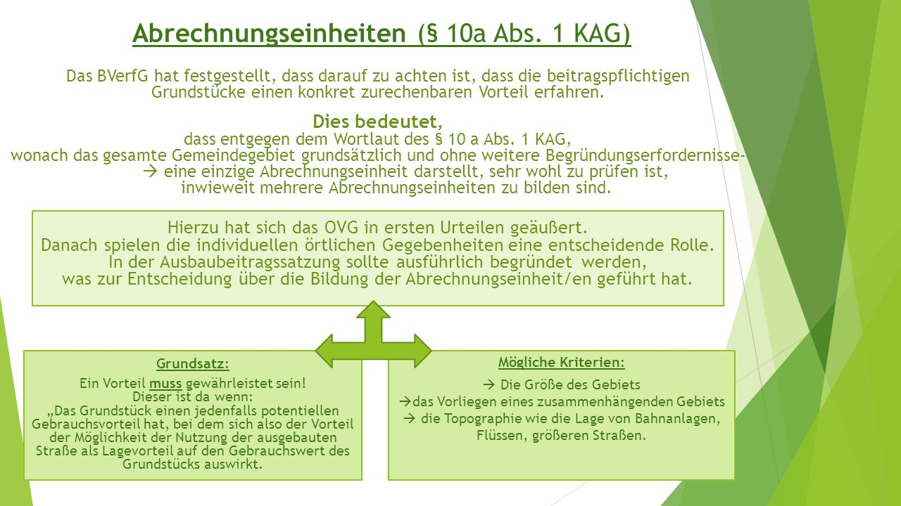 Abrechnungseinheiten (§ 10a Abs. 1 KAG) Mögliche Kriterien:  Die Größe des Gebiets  das Vorliegen eines zusammenhängenden Gebiets  die Topographie