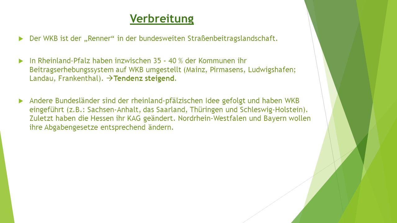 """Verbreitung  Der WKB ist der """"Renner"""" in der bundesweiten Straßenbeitragslandschaft.  In Rheinland-Pfalz haben inzwischen 35 – 40 % der Kommunen ihr"""