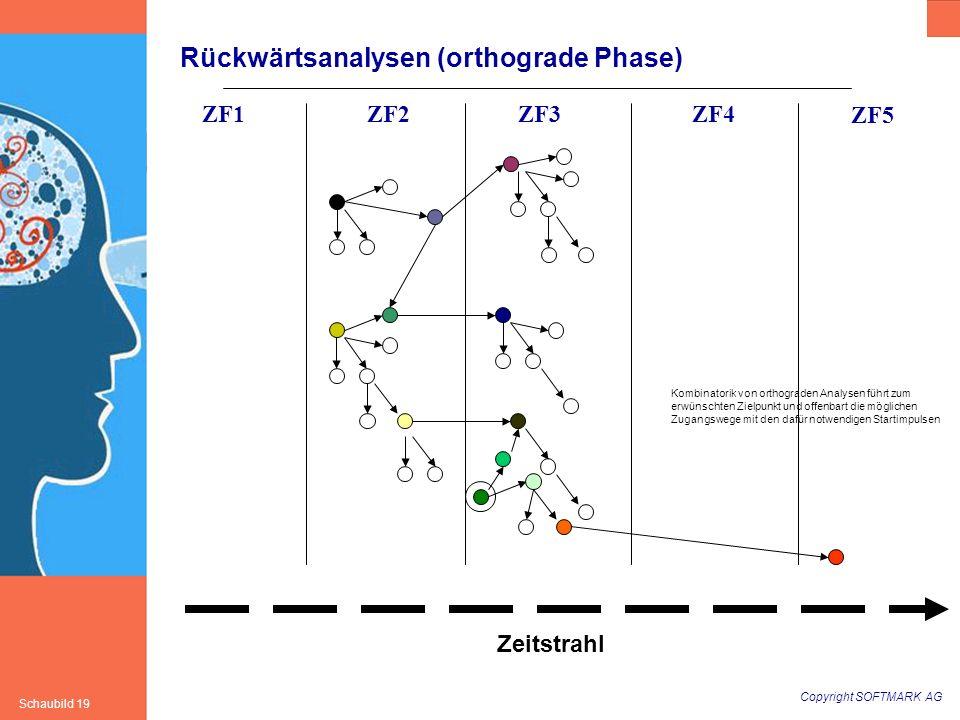 Copyright SOFTMARK AG Schaubild 19 Rückwärtsanalysen (orthograde Phase) ZF1ZF2ZF3ZF4 ZF5 Zeitstrahl Kombinatorik von orthograden Analysen führt zum er