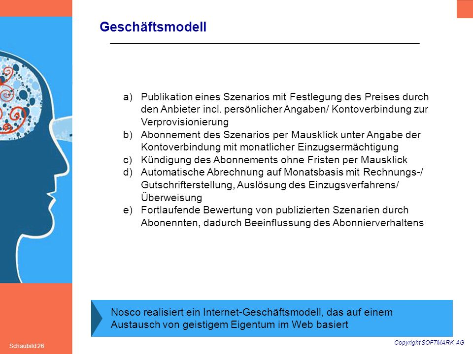 Copyright SOFTMARK AG Schaubild 26 Geschäftsmodell Nosco realisiert ein Internet-Geschäftsmodell, das auf einem Austausch von geistigem Eigentum im We