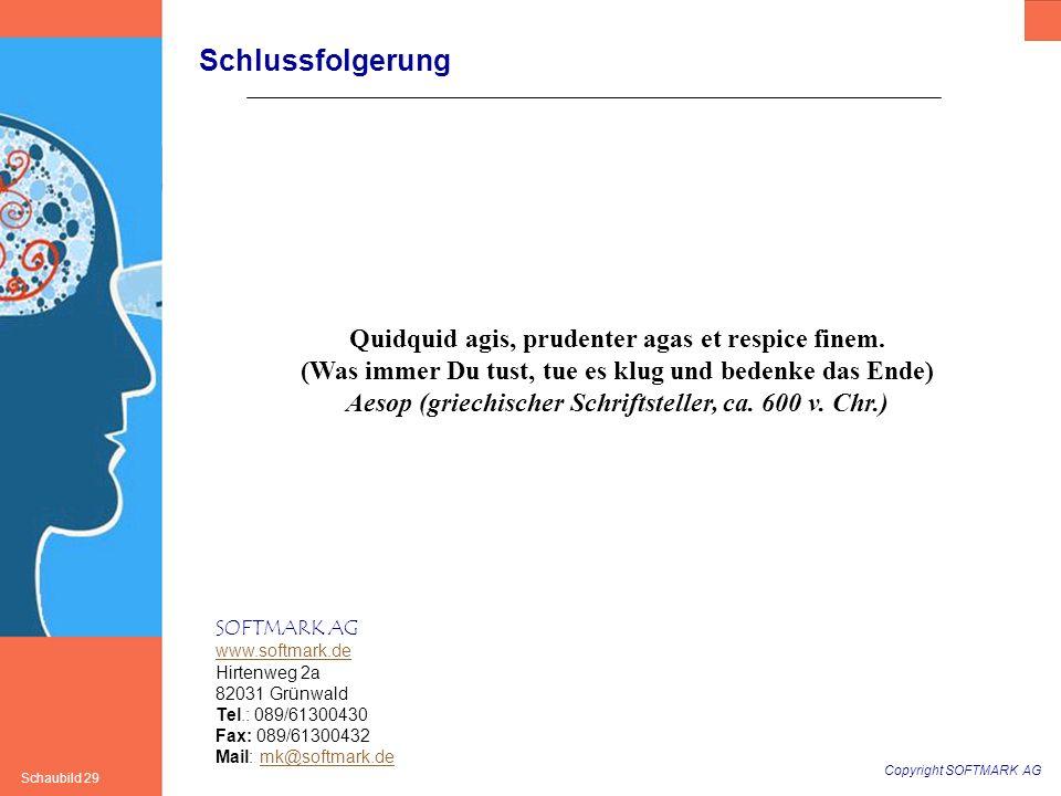 Copyright SOFTMARK AG Schaubild 29 SOFTMARK AG www.softmark.de Hirtenweg 2a 82031 Grünwald Tel.: 089/61300430 Fax: 089/61300432 Mail: mk@softmark.demk