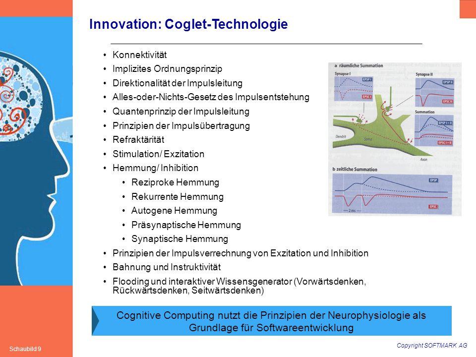 Copyright SOFTMARK AG Schaubild 9 Innovation: Coglet-Technologie Konnektivität Implizites Ordnungsprinzip Direktionalität der Impulsleitung Alles-oder