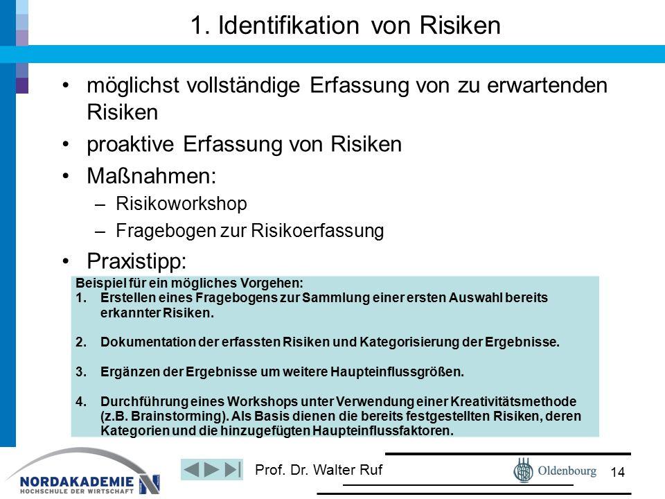 Prof. Dr. Walter Ruf 1. Identifikation von Risiken möglichst vollständige Erfassung von zu erwartenden Risiken proaktive Erfassung von Risiken Maßnahm